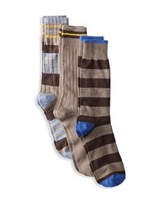 Florsheim Men's Multi Socks (3 Pair) (Brown/Brown Stripe/Taupe Heather)