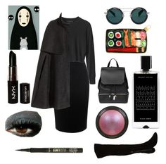 """""""No-Face- from Spirited Away"""" by the-girl-who-fell-from-the-sky ❤ liked on Polyvore featuring Alexander McQueen, H&M, NYX, Nine West, tarte, Topshop, COSTUME NATIONAL, Agonist and Yohji Yamamoto"""