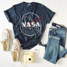 Love love love this outfit, color of jeans, color of shirt... Just not print on the tee....