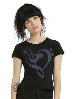TRUTH: Music makes the heart grow stronger. // Music Lover Crop Girls T-Shirt