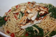 Beyond Spaghetti- Linguine with Chicken, Roasted Tomatoes, and Spinach!