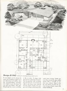Midcentury Modern House Plans Best Of Vintage House Plans Mid Century Homes Homes Modern Floor Plans, Modern House Plans, Modern House Design, House Floor Plans, Atrium, Mcm House, Tiny House, Vintage House Plans, Vintage Homes