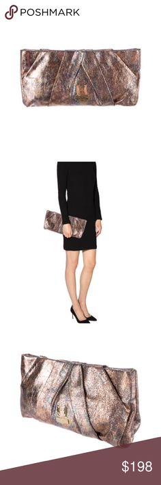 """Halston heritage clutch Iradecent leather pleated clutch. Holds all the essentials. Minor scratched on gold """"h"""" Halston Heritage Bags Clutches & Wristlets"""