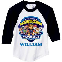 Personalized Paw Patrol Mission Pawsible Girls Jersey Tee, Size: Small, Black
