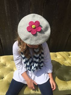 Gray girl's gray wool beret hat felted wool flower One Size 1 - 6 multiple colors by TheUpcycledGoddess on Etsy