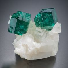 Dioptase with Calcite -- Tsumeb, Namibia