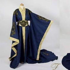 Dragon goddess dress by Fairytas.info@gmail.com #kimono #dragons #dragon #hanfu #dress # robe #blue