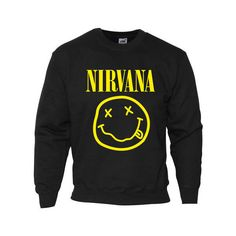 NIRVANA SMILEY FACE SWEATSHIRT T SHIRT JUMPER ALL SIZES ❤ liked on Polyvore