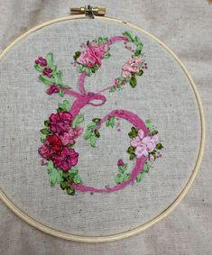 Victorian initial, letter E, silk ribbon embroidery