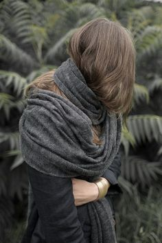 grey oversized scarf, handmade in poland