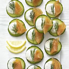 Scottish salmon and pickled cucumber discs, a delicious recipe from the new Cook with M&S app. Smoked Trout, Smoked Salmon, Scottish Salmon, Scottish Recipes, Pickling Cucumbers, English Food, Summer Bbq, Canapes, Appetisers