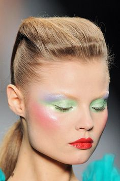 Day-Glo bright pastels, not an oxymoron. And glossy red lips seem to be paired with everything lately