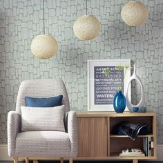 Mid-century living room with woven pendants