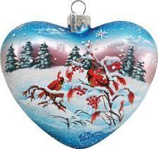 G Debrekht Winter Birds Heart Ornament Holiday Splendor Collection Bird Ornaments, Christmas Ornament Sets, Heart Ornament, Snowflake Ornaments, Christmas Balls, Painted Ornaments, Old World Christmas, Christmas Place, Christmas Stuff