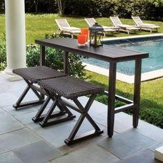 Hampton Bay, Woodbury 3-Piece Patio Console Set, DY9127-3-CON at The Home Depot - Mobile