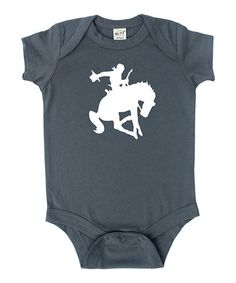 Another great find on #zulily! Charcoal & White Bucking Cowboy Bodysuit - Infant #zulilyfinds