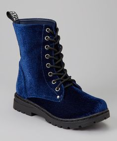Fun, funky and a hint of edge. This faux velvet boot laces-up and takes a woman all the way to the fashion hall of fame and back with ease. Over Boots, Doc Martens Boots, Size 11 Shoes, Shoes Heels Wedges, It Goes On, Flat Boots, Pretty Shoes, Cool Boots, Sock Shoes