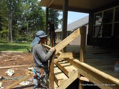 Learn how to build steps for your porch or deck using an instructional guide, video and tips. We show you how it's done so you can assess your own skills and to see what is involved in the step building process Pergola Designs, Pergola Kits, How To Build Porch Steps, Wooden Steps, Pergola Pictures, Building A Porch, Deck Stairs, Gable Roof, Retractable Canopy