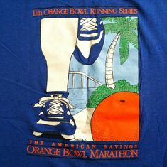 Not a Nike brand shirt, the runner is wearing Nikes. The tag is marked large but please double check the measurements to ensur Vintage Nike, Vintage Tees, Aztec Tribal Patterns, Orange Bowl, Branded Shirts, Running Shirts, Illustrations And Posters, Sports Shirts, Marathon
