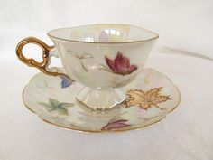 Tea Cup and Saucer Set Lipper & Mann Luster Butterflies 24k Gold Leafs Triangle ~ Soooooo Pretty