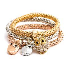 Owl Charm Bangle Bracelet   Owl Bracelet