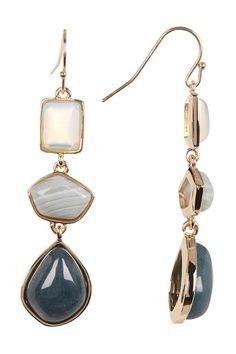 Multi-Geo Stone Linear Drop Earrings