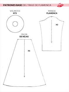 patrones base del traje de flamenca - manga, falda y volante