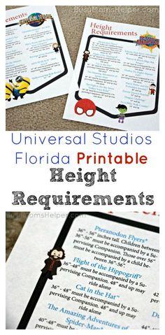 Height Requirements at Universal Orlando Resort   Charts ...