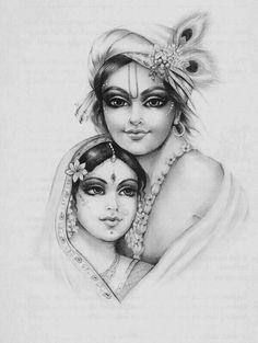 Radha Krishna - Such a tender and beautiful drawing. Hare Krishna, Radha Krishna Sketch, Krishna Drawing, Krishna Leela, Radha Krishna Images, Krishna Pictures, Radha Krishna Love, Krishna Painting, Krishna Photos
