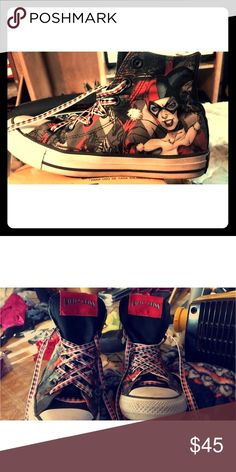 D.C. Harley Quinn Converse Size 7 barely worn Converse Shoes Sneakers
