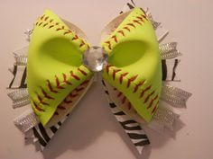 Softball Hair Bow - REAL Softball (All Yellow) on Etsy, $10.00