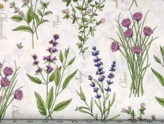 Bundles of Different Herbs on White Cotton Quilt Fabric for Sale, Thyme with Friends by Kris Lammers, Fat Quarter, MAS8331-E by fabric406 on Etsy