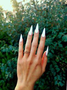 white stiletto nails (real pointy)