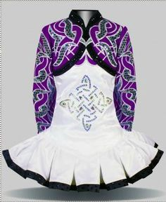 #Irish_Dance solo dress by Elevation could use something else on the bodice but i really love the purple and the designs on the arms and upper bodice