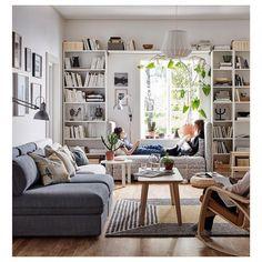 New Ikea Living Room Furniture Ideas Billy Bookcases Ideas Billy Ikea, Ikea Billy Bookcase, Bookcase White, Bookshelf Wall, Book Shelves, Bookcase Behind Sofa, Window Shelves, Library Shelves, Wall Shelves