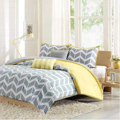 Yellow Grey White Bedroom Design Ideas