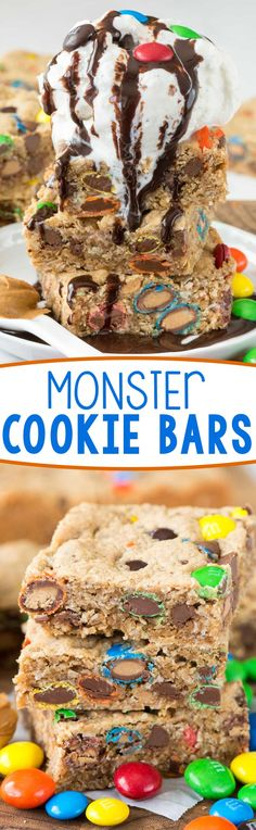 Monster Cookie Bars - this easy bar cookie recipe is full of peanut butter, oats, and tons of M&Ms! EVERYONE loves these, especially with ice cream!