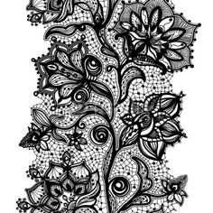 Abstract lace ribbon seamless pattern with elements flowers. by vikpit74, Royalty free vectors #57996248 on Fotolia.com