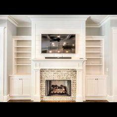 "111 Likes, 5 Comments - Bridgewater Builders (@bridgewaterbuilders) on Instagram: ""White Cabinetry & White Shiplap - Fireplace Brick in Old Orleans - Clean & Classic…"""
