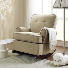 Darby Home Co Attleborough Tinsley Rocking Chair  this one is kinda expensive. it doesn't need to be this one exactly. but a cute upholstered rocking chair like this would be really nice in my room. maybe a thrift store would have a good one?