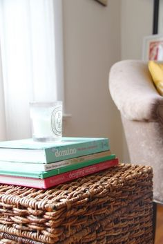 decorating book by domino + baies diptyque candle