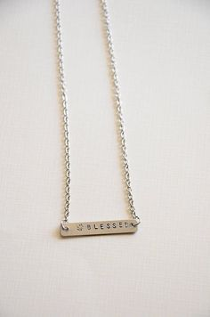 hand stamped hashtag blessed necklace/ blessed necklace/ gold