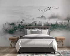 Fantastic foggy mountain scenery wallpaper for home linving room bedroom nature wall mural decor removable self adhesive - Decoration Mountain Wallpaper, Forest Wallpaper, Scenery Wallpaper, Landscape Wallpaper, Home Wallpaper, Fabric Wallpaper, Wall Murals Bedroom, Foggy Mountains, Misty Forest