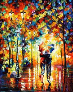 "UNDER ONE UMBRELLA — PALETTE KNIFE Oil Painting On Canvas By Leonid Afremov - Size 30""x36"""
