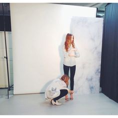 Our stylist busy styling model at one of our many photo shoots at VERO MODA. #veromoda #photoshoot #veromodainside #model #stylist