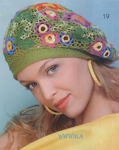 Colorful, modern interpretation of irish crochet in a beautiful hat design