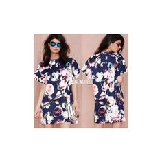 New Lady Women's Western Style O-Neck Short Sleeve Floral Print Loose... (64 HKD) via Polyvore