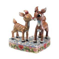Rudolph Jim Shore Christmas rom Enesco Clarice Kissing Rudolph Figurine 4.53 IN
