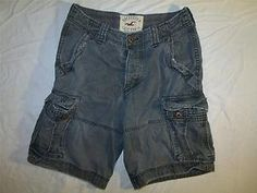 """Mens Hollister Cargo Shorts 31"""" Waist Casual Relaxed Fit Long Gray Stylish Urban"""