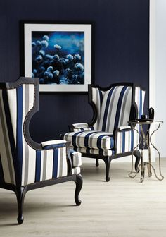 Bernhardt | Talbot Chair in navy/ivory woven stripe and a black oak charcoal wood finish, available in other finishes, fabrics, com | Laurel Round Metal Accent Table